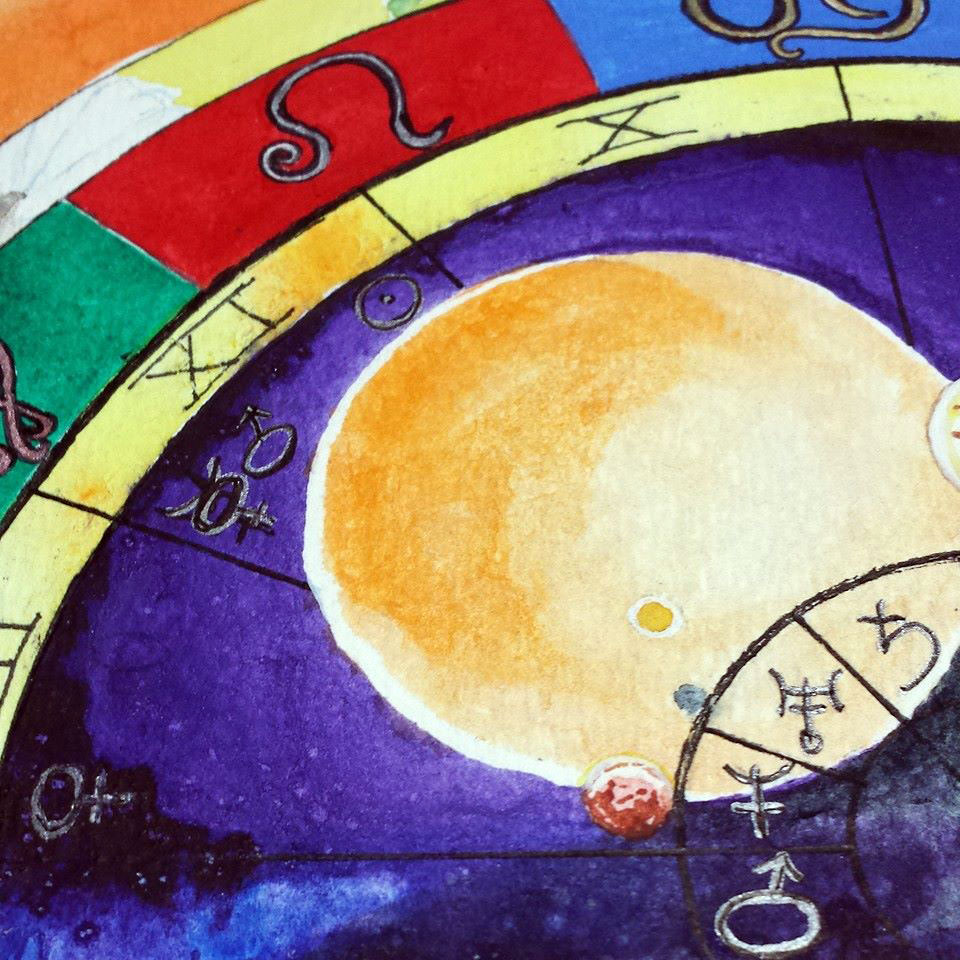 Leo hand painted natal chart christmas gift idea custom leo natal chart from mystick physick 3 nvjuhfo Gallery